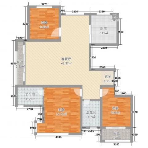 淮海・东城御景3室2厅2卫1厨127.00㎡户型图