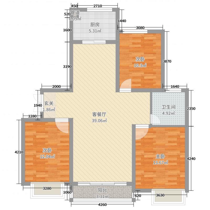 淮海・东城御景111.00㎡2-3#、6#、北区1#楼C户型3室3厅1卫1厨