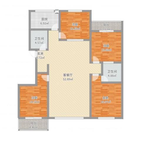 阳光花庭4室2厅2卫1厨165.00㎡户型图