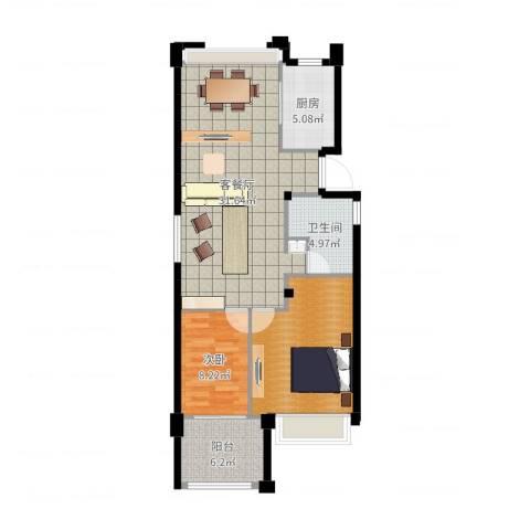 中企御品湾1室2厅1卫1厨89.00㎡户型图