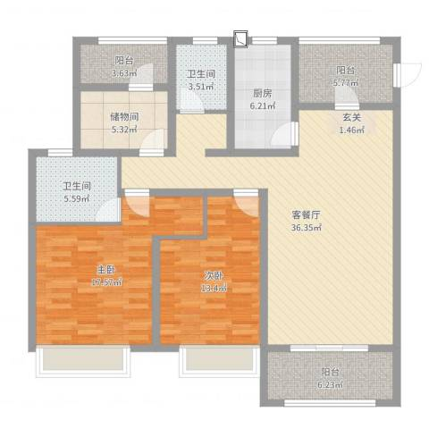 御景天成2室2厅2卫1厨129.00㎡户型图