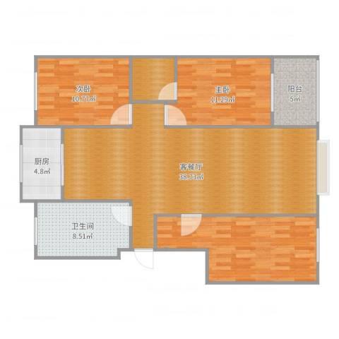 绿墅蓝湾2室2厅1卫1厨122.00㎡户型图