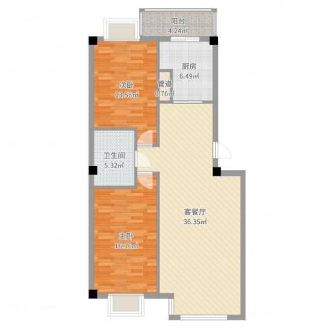 世纪花园2室2厅1卫1厨104.00㎡户型图