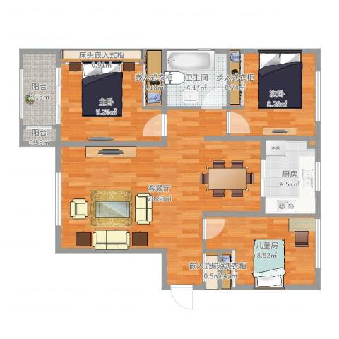 乐豪斯-致臻园三室两厅3室2厅1卫1厨89.00㎡户型图