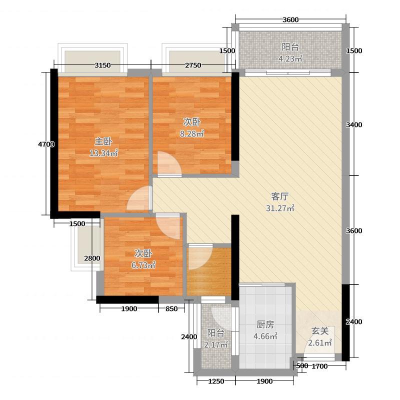 远洋天骄87.00㎡2栋/4栋043栋/5栋05户型3室3厅1卫1厨