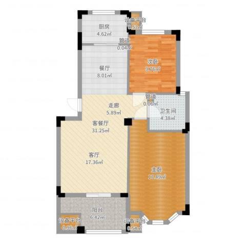 嘉禾绿洲2室2厅1卫1厨95.00㎡户型图