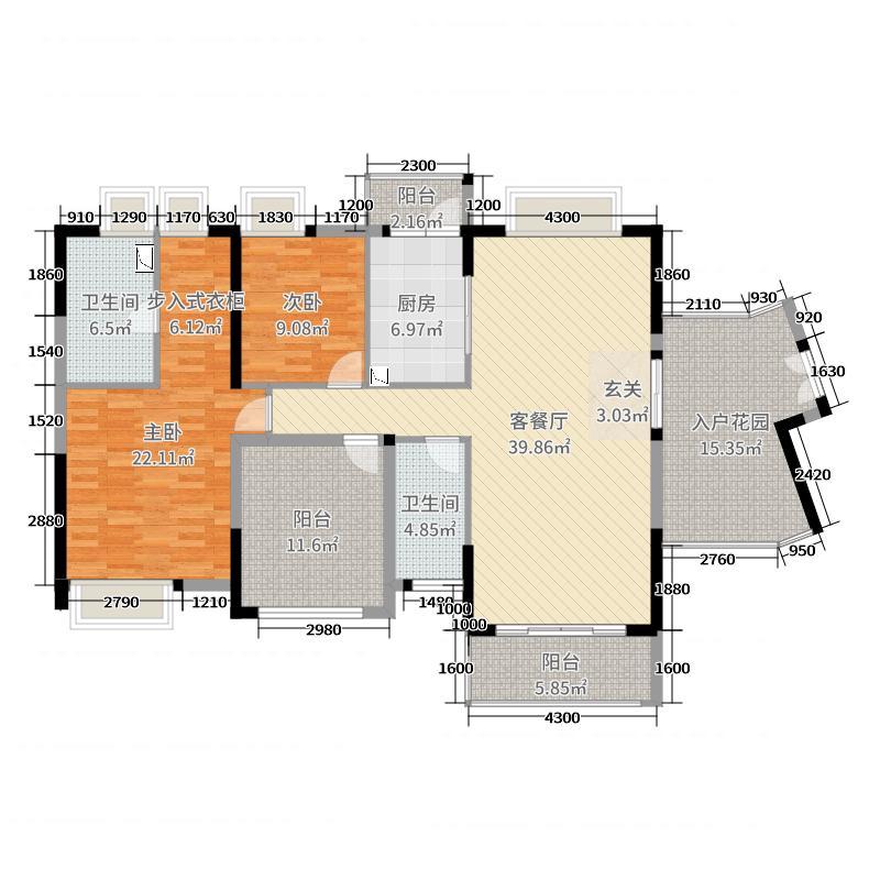 广州星河丹堤143.00㎡云峯组团F户型2室2厅2卫1厨