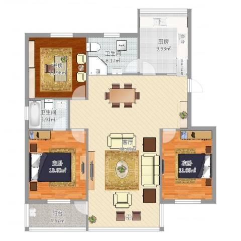 引凤花园3室1厅2卫1厨133.00㎡户型图