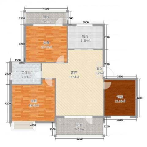 翡翠华庭3室1厅1卫1厨118.96㎡户型图