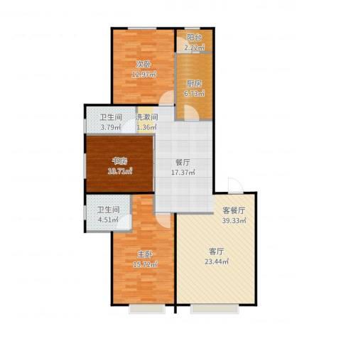 联想科技城3室2厅2卫1厨120.00㎡户型图