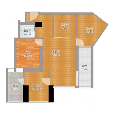 东方巴黎广场2室2厅1卫1厨105.00㎡户型图