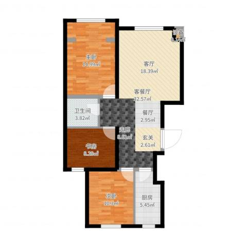 东城景苑3室2厅1卫1厨94.00㎡户型图
