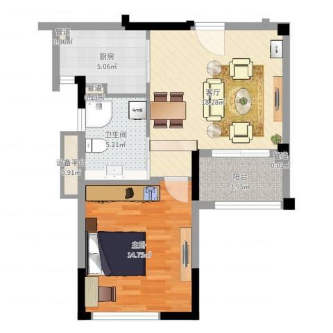 华辰国际1室1厅1卫1厨60.00㎡户型图