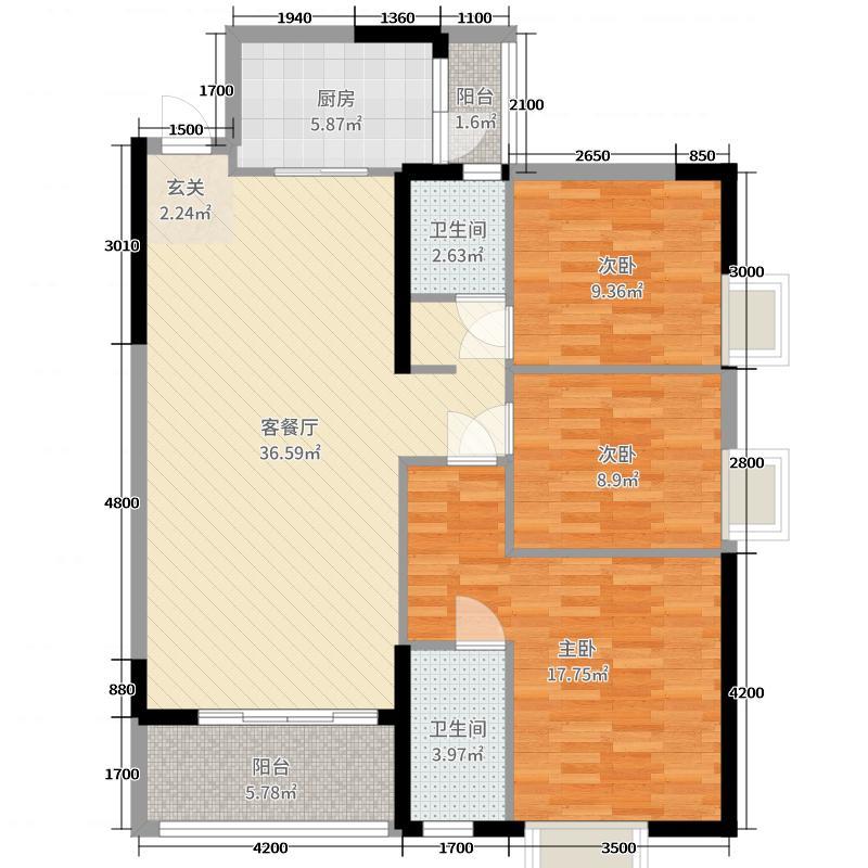 白马香港城116.00㎡三居室-C3户型3室3厅2卫1厨
