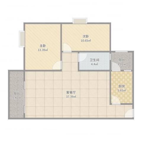 丽园盛景2室2厅1卫1厨100.00㎡户型图