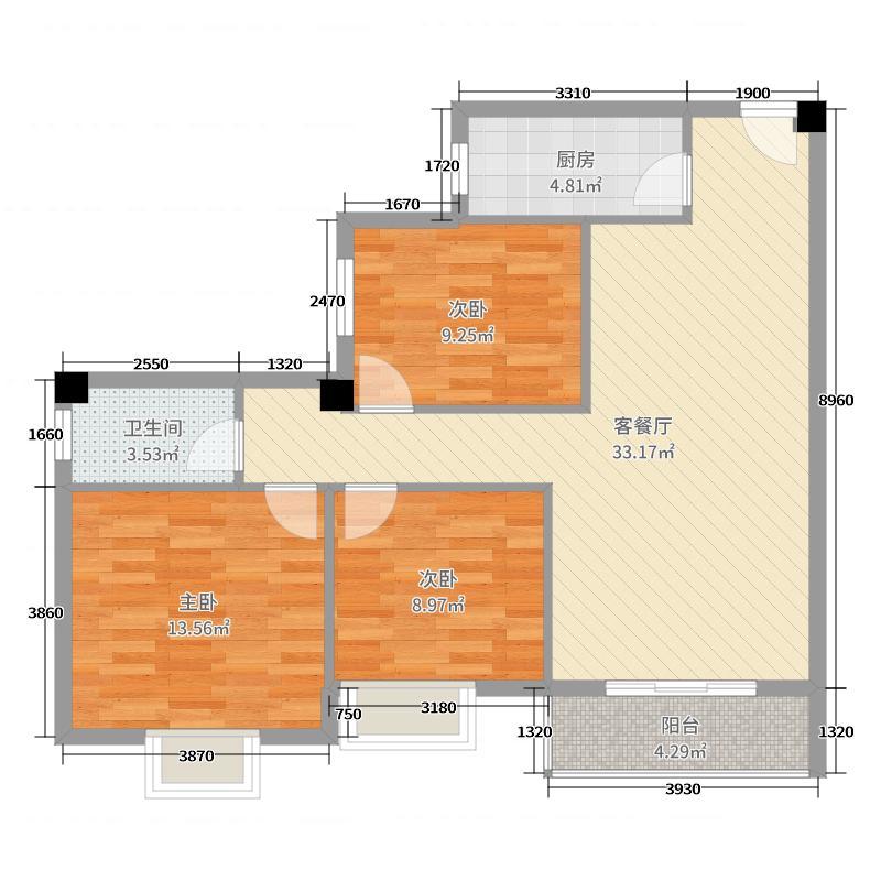 九坤新城壹号96.75㎡8#L3户型3室3厅1卫1厨