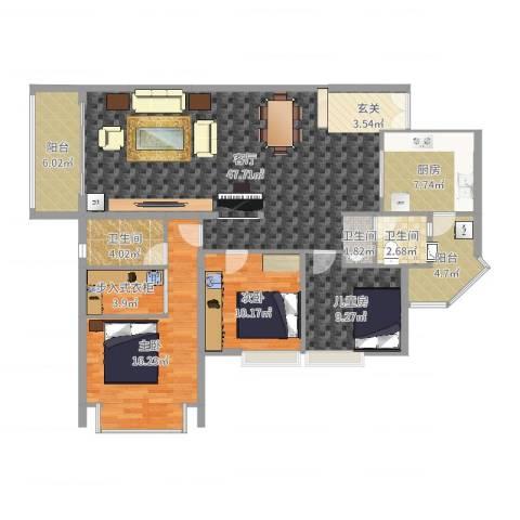 伊顿183室1厅2卫1厨141.00㎡户型图
