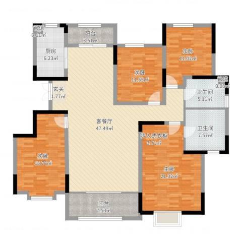 鲁能领秀城・漫山香墅4室2厅2卫1厨172.00㎡户型图