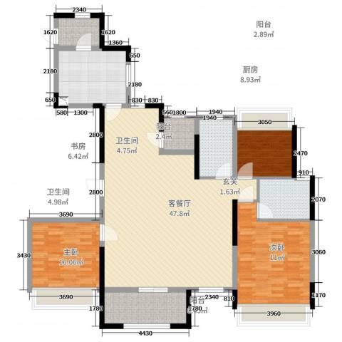 奥体新城3室2厅2卫1厨140.00㎡户型图