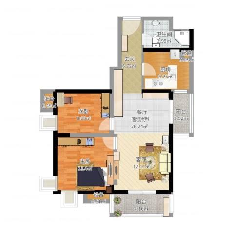 易道郡玫瑰公馆2室2厅1卫1厨80.00㎡户型图