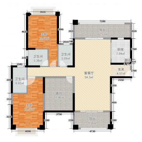 雅居乐御龙山2室2厅3卫1厨171.00㎡户型图