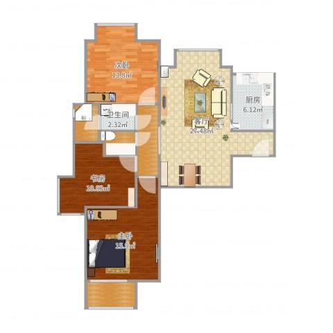 新建小区3室1厅1卫1厨88.13㎡户型图