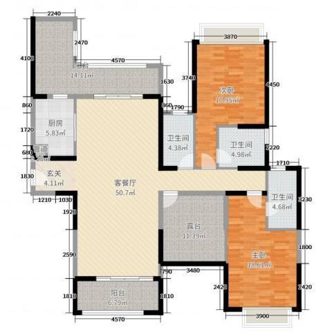 雅居乐御龙山2室2厅3卫1厨174.00㎡户型图
