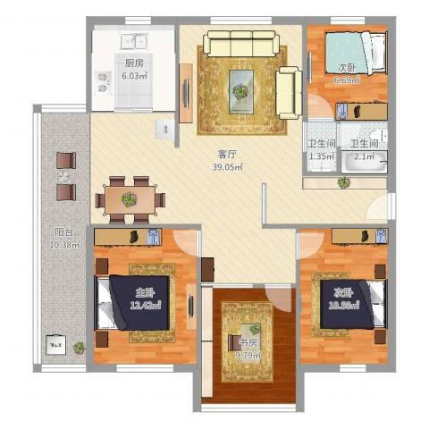 金鼎花园4室1厅2卫1厨123.00㎡户型图