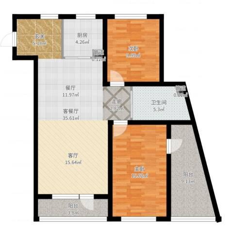 万嘉国际2室2厅1卫1厨104.00㎡户型图