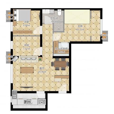 首创・悦都汇3室1厅1卫1厨96.00㎡户型图