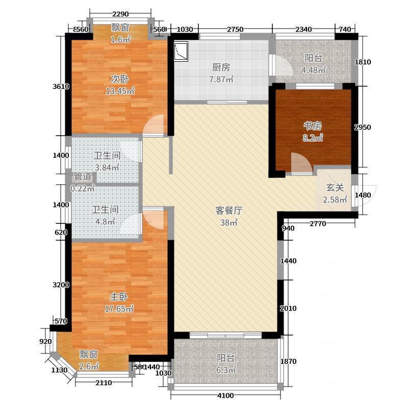 碧桂园・滨湖城131.00㎡J472T-A户型3室3厅2卫1厨