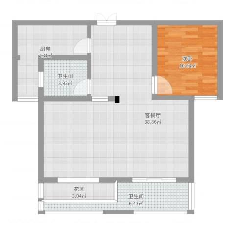 新涟中花园1室2厅3卫1厨88.00㎡户型图