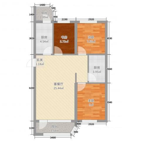 文景清华园3室2厅0卫2厨97.00㎡户型图
