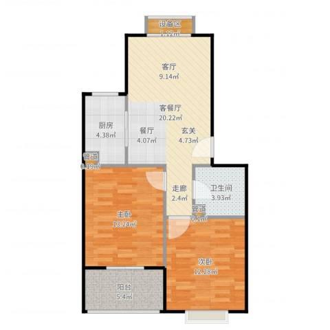 七里晴川2室2厅1卫1厨76.00㎡户型图