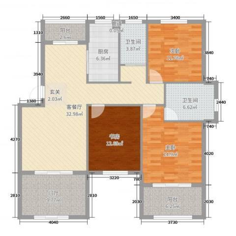 星科印象3室2厅2卫1厨136.00㎡户型图