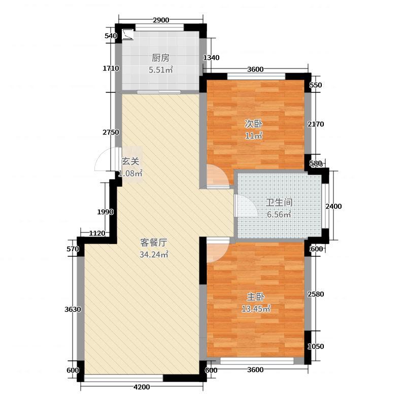 中海城96.00㎡提香A2户型2室2厅1卫1厨