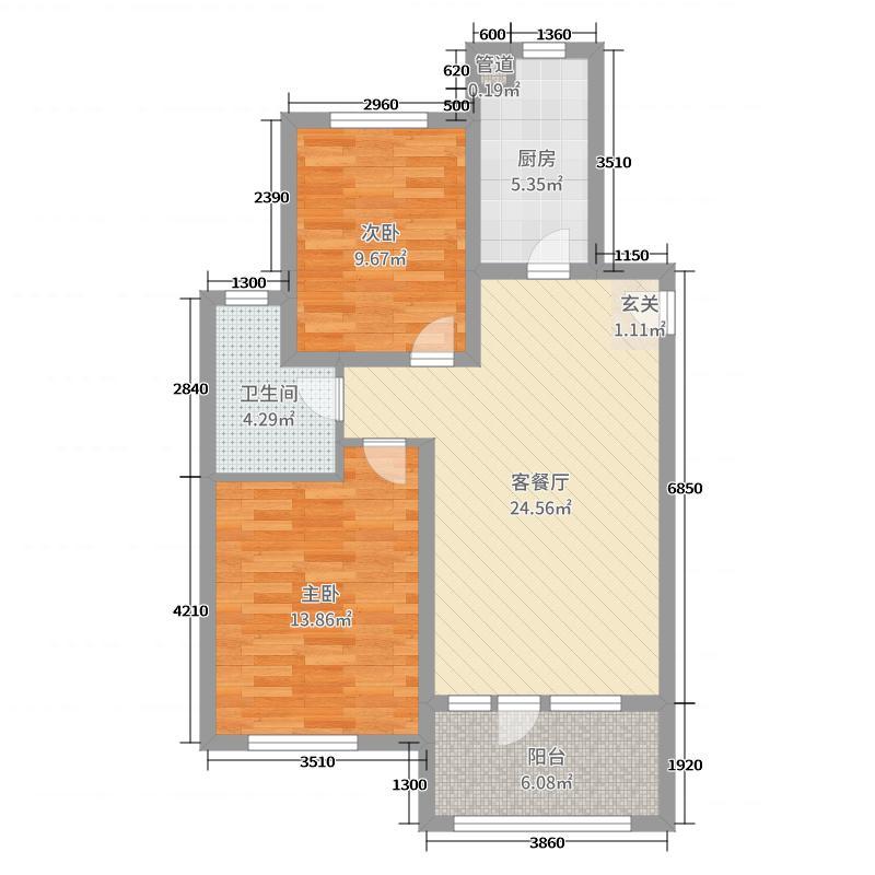 青岛中南世纪城80.00㎡三期1#、7#B5户型2室2厅1卫1厨