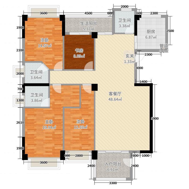 阳光丽景172.20㎡6幢02(G2)户型4室4厅3卫1厨