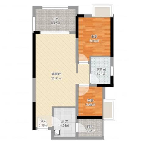 金科公园王府2室2厅1卫1厨72.00㎡户型图