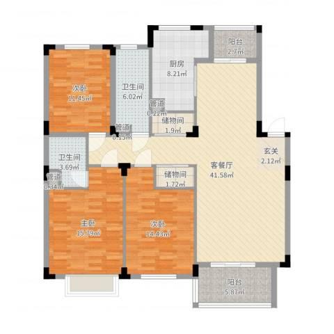 云水山庄3室2厅2卫1厨143.00㎡户型图
