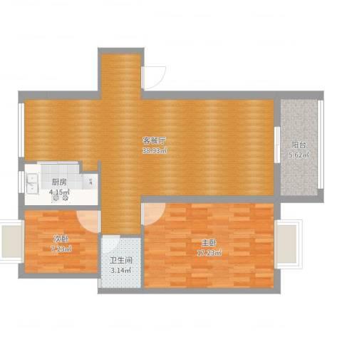金林湾花园2室2厅1卫1厨95.00㎡户型图