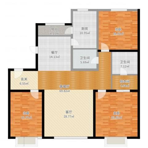成龙花园3室2厅2卫1厨203.00㎡户型图