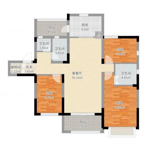 吴月雅境3室2厅3卫1厨120.00㎡户型图