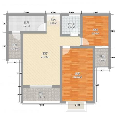新力景瑞新城2室1厅1卫1厨102.00㎡户型图