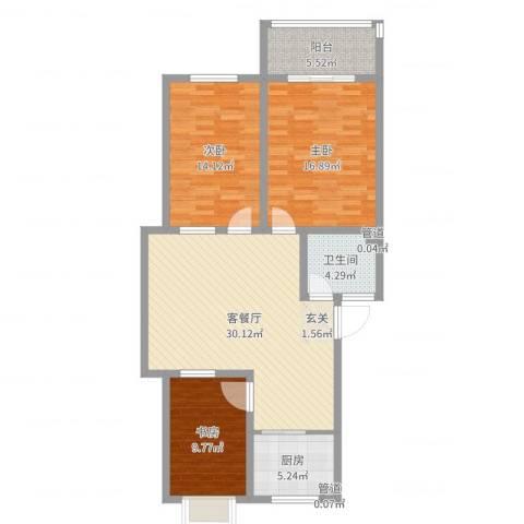 华普东方家园3室2厅1卫1厨108.00㎡户型图