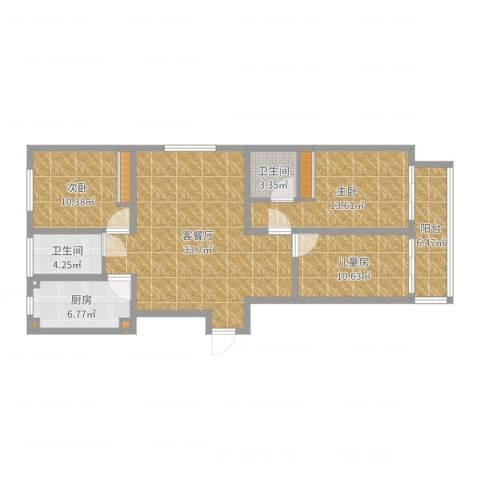 国海公寓3室2厅2卫1厨114.00㎡户型图