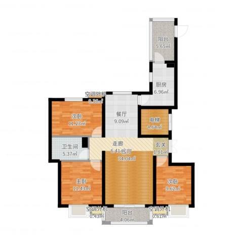 河北国际商会广场3室1厅1卫1厨118.00㎡户型图