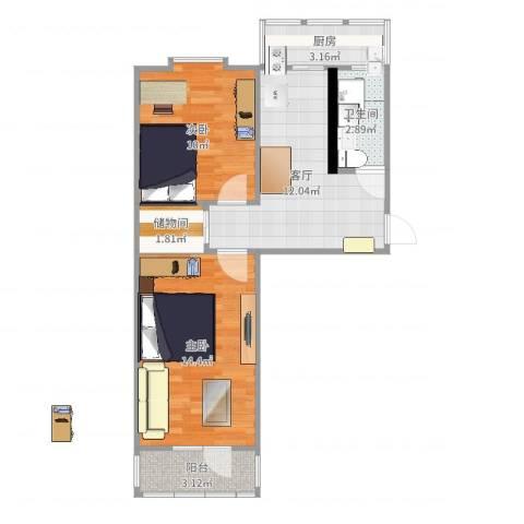 海建里2室1厅1卫1厨59.00㎡户型图