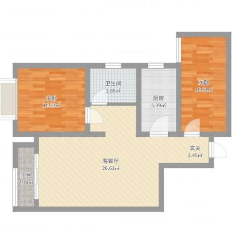 英伦假日2室2厅1卫1厨74.00㎡户型图