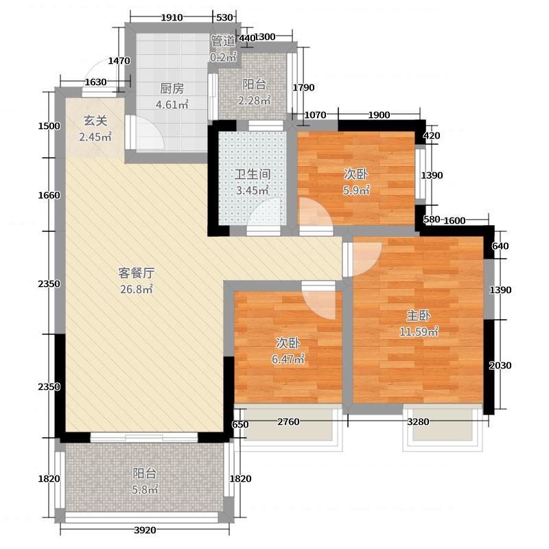 莱茵北郡86.00㎡3期3栋标准层B6户型3室3厅1卫1厨